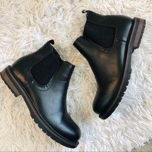 bbk skechers black leather ankle boots